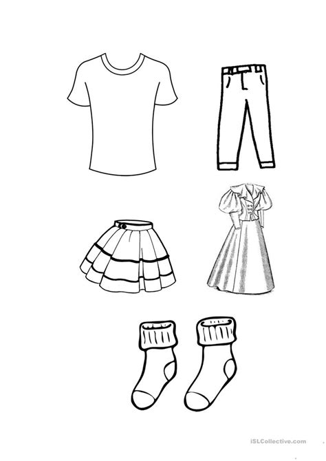 clothes colouring worksheet  esl printable