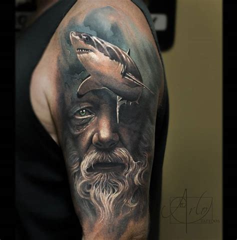shark tattoo sleeve poseidon shark sleeve shark and