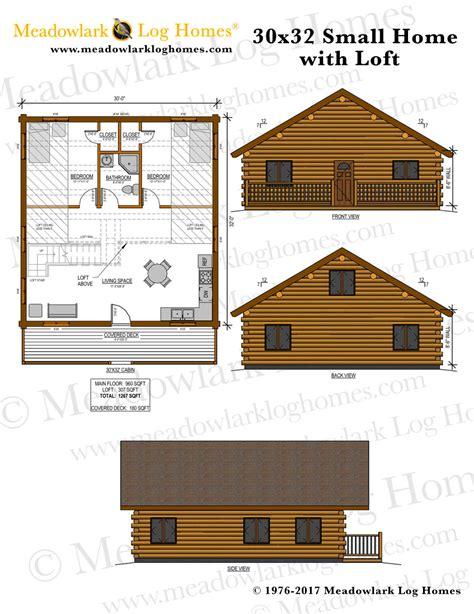 small log home plans with loft 30x32 log home w loft meadowlark log homes