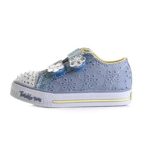 twinkle toes light up shoes kids girls skechers shuffles twinkle toes petal pop blue