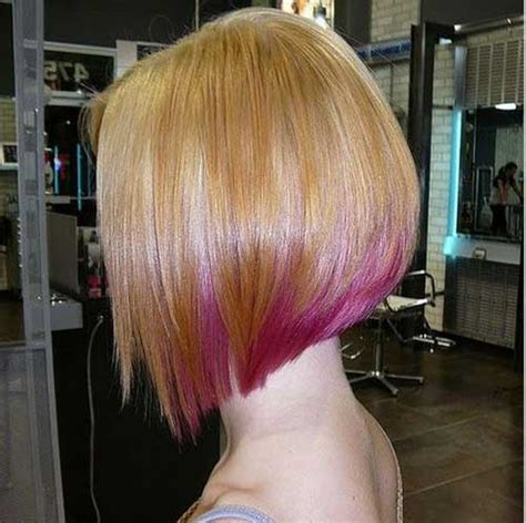 angled bob colored hair inverted stacked bob haircut back view