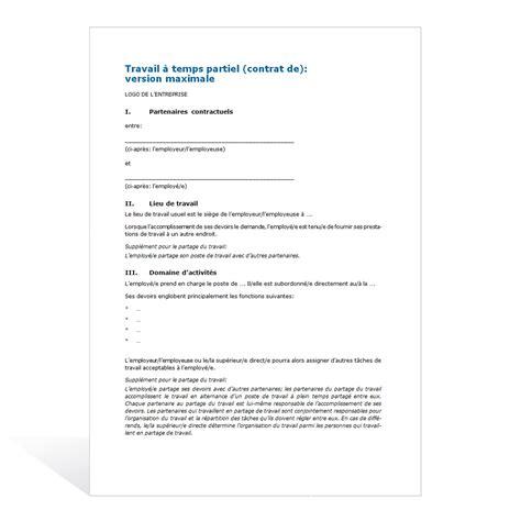 Lettre De Motivation Emploi Temps Partiel contrat de travail temps partiel lettre de motivation 2018