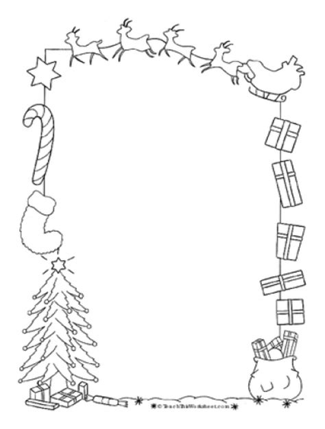 christmas borders coloring page teach this worksheets create and customise your own