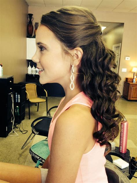 pageant hair on pinterest formal hair pageants and updo pageant hair a simple half up half down hair and make