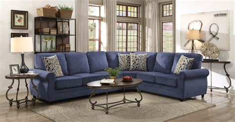 sectional sofa with pull out bed kendrick transitional style blue chenille fabric casual