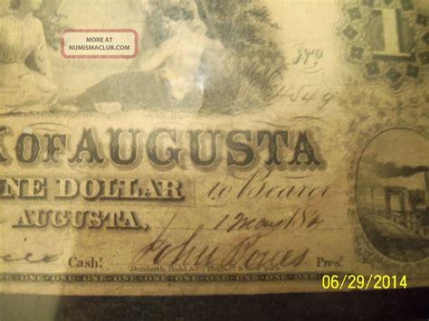augusta bank augusta bank of augusta one dollar bill 1840 s