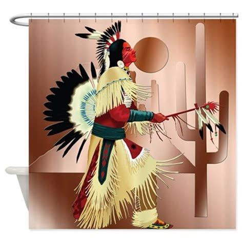 native american curtains native american warrior with cactus shower curtain by cultper