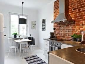 brick wall in kitchen how to design a scandinavian kitchen