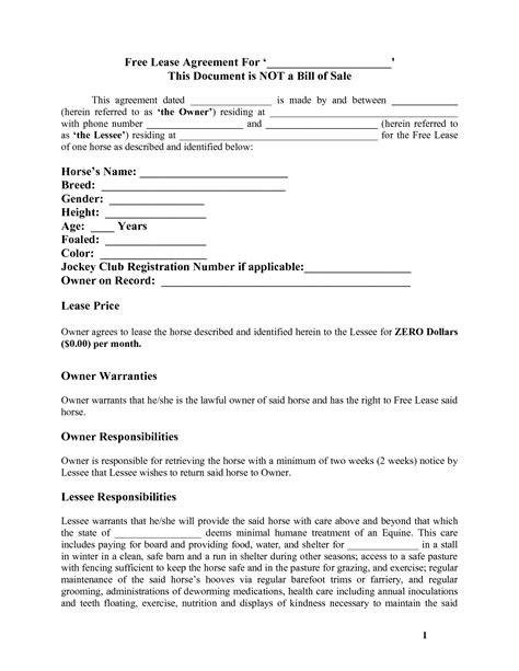 printable rental agreement uk horse template printable free basic lease agreement