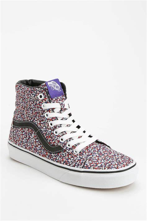vans patterned high tops lyst vans sk8 hi micro floral women s sneaker in pink