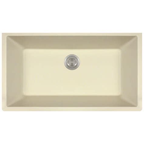 Beige Kitchen Sinks Polaris Sinks Undermount Granite 33 In Single Basin Kitchen Sink In Beige P848 Beige The Home