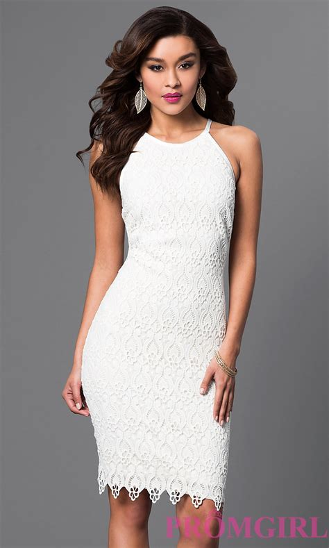 Knee Length White Lace Dress PromGirl