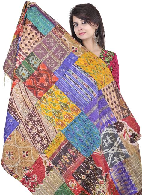 Patchwork And Stitching - multi color patchwork reversible shawl from kolkata with
