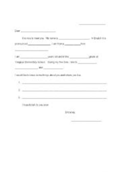pen pal letter template exle of a pen pal letter in teaching