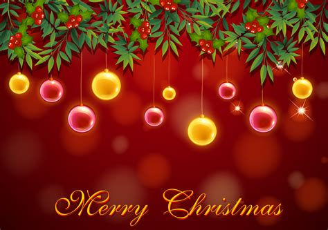 christmas card template  red  yellow balls   vector art stock graphics