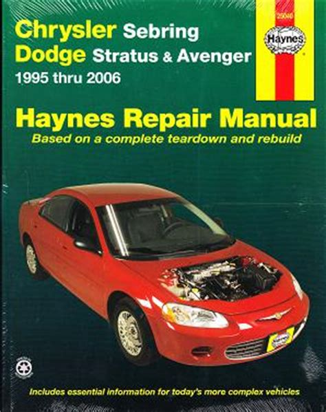 online car repair manuals free 2006 dodge magnum parking system 1995 2006 chrysler sebring stratus avenger haynes repair manual