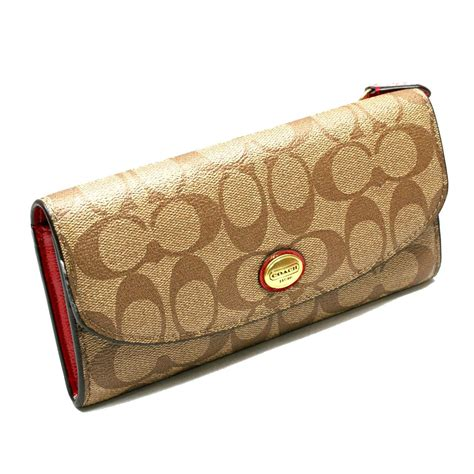 Coach Peyton Signature Envelope PVC Wallet/ Clutch Khaki/ Red #49154   Coach 49154