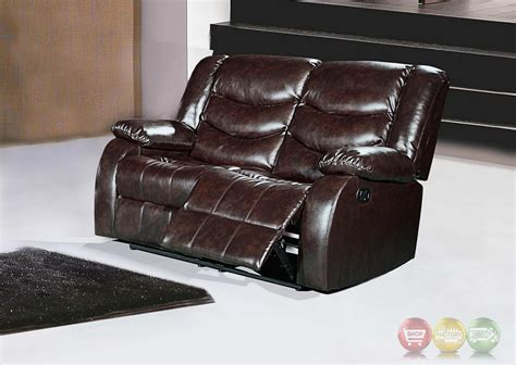 brown reclining loveseat 644br brown leather reclining loveseat with pillow arms