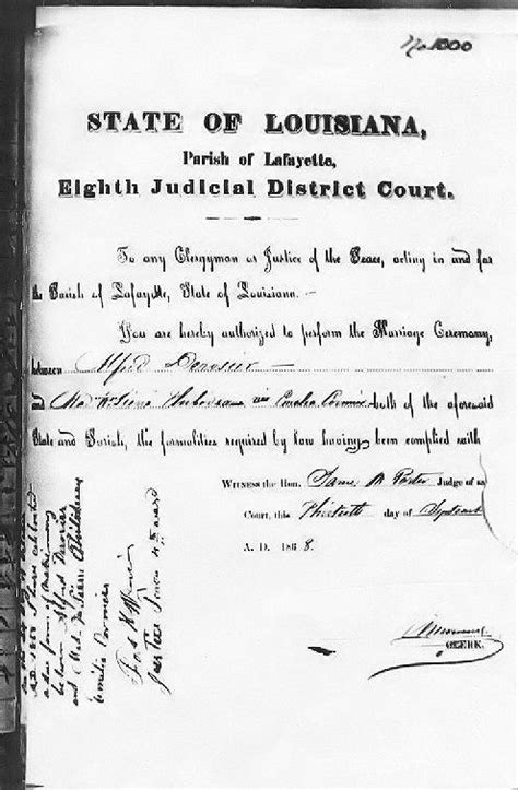 Louisiana Marriage License Records Derosier Cormier 1868 Marriage License Part A