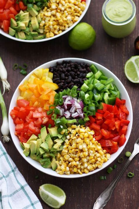 Red Black Kitchen - vegan mexican chopped salad with avocado dressing happy kitchen rocks