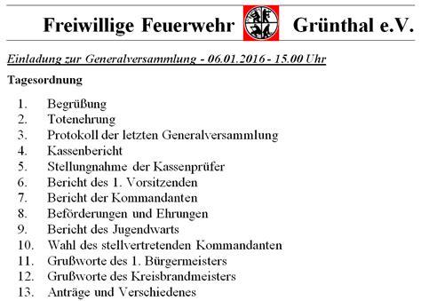 Muster Einladung Zur Jahreshauptversammlung Verein Einladung Zur Jahreshauptversammlung Freiwillige Feuerwehr Gr 252 Nthal E V