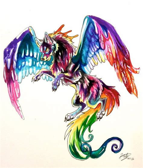 watercolor wolf tattoo designs colorful flying wolf by lucky978 on deviantart