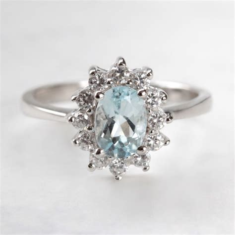 klenota aquamarine and cz ring in sterling silver