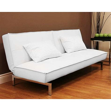 walmart bed couch belle faux leather convertible futon sofa bed white
