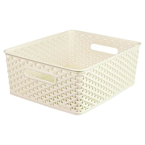 Curver Vintage White Nestable Rattan Bathroom Storage Wicker Basket Bathroom Storage