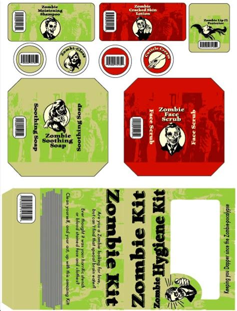printable zombie labels printables for zombie survival kits just b cause