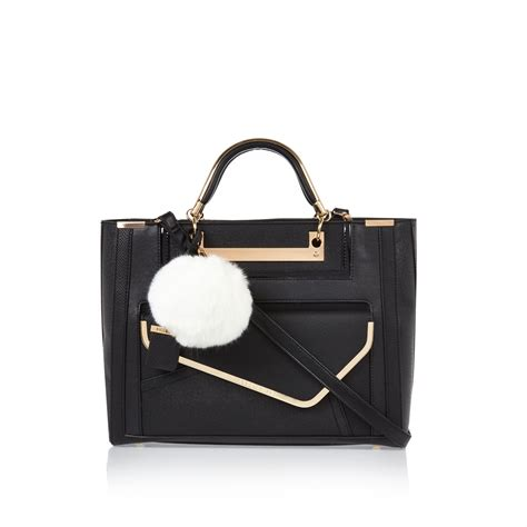 Black Bag river island black structured pom pom tote handbag in