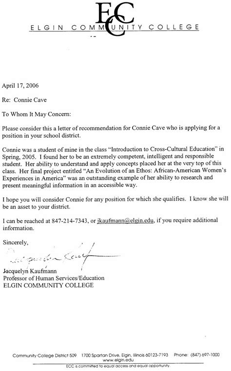 College Of William And Letter Of Recommendation Connie Cave Letters Of Recommendation
