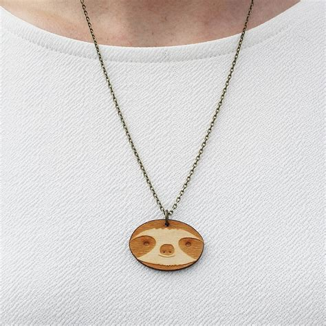 wooden sloth necklace by pickle notonthehighstreet