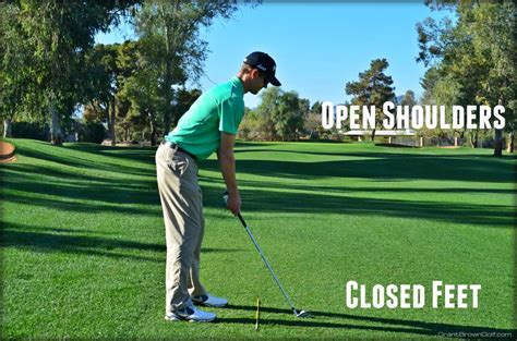 open stance in golf swing feet and shoulder alignment grant brown golf
