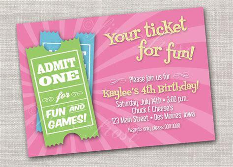 printable arcade tickets kids birthday ticket invitation games pizza arcade