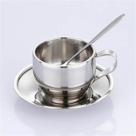 Scoop Stainless Steel 35 Cm High Quality 125ml high quality steel cup saucer and spoon set stainless steel wall coffee mug in mugs