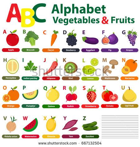 a z name that fruit and vegetable books alphabet fruits vegetables back stock vector