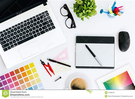 design online gallery professional creative graphic designer desk stock image
