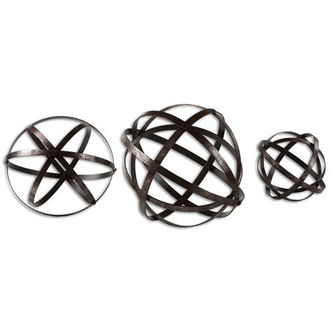 jetson industrial loft bronze metal spheres decor set of