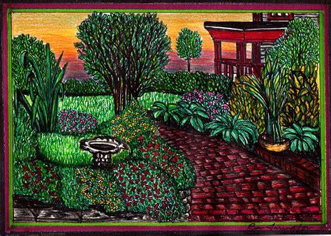 Flower Garden Drawings Flower Garden Drawing By Beverly Farrington
