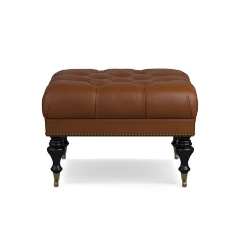 Fairfax Square Leather Ottoman Turned Leg With Tufted Top Square Tufted Leather Ottoman