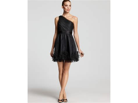 Cleeo Dress max cleo dress tulle one shoulder in black lyst