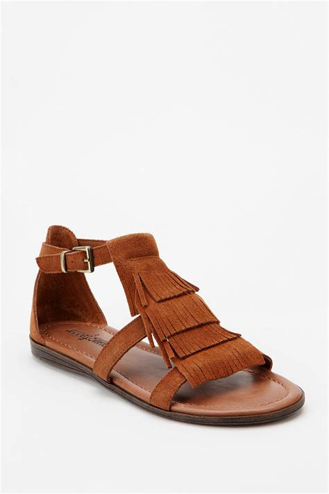 sandals at lyst outfitters minnetonka fringe sandal in brown