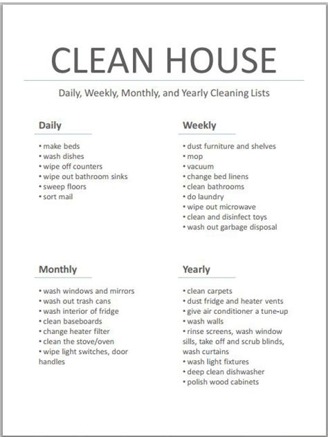 how to do cleaning 5 house cleaning list templates formats exles in word excel