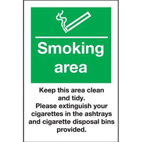 smoking area  clean  ashtrays sign