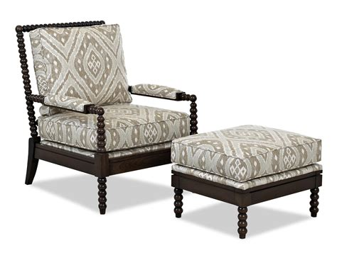 Accent Chair With Ottoman Klaussner Chairs And Accents Accent Chair And Ottoman Set With Spool Turned Legs At Sheely