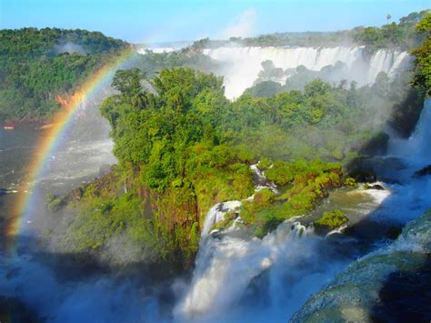 rainbow waterfalls rainforest magical photo