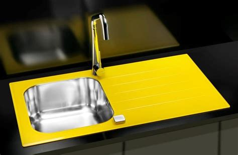 Yellow Kitchen Sink Glass Kitchen Sink Black White Bespoke Colours Yellow Violet Alveus Glassix 10 Olif