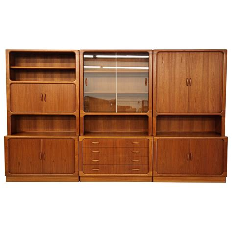 Bookcase Wall Unit Set Of Three Midcentury Teak Wall Unit Bookcase