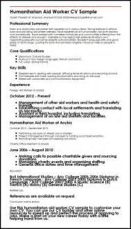 Aid Worker Sle Resume by Humanitarian Aid Worker Cv Sle Myperfectcv